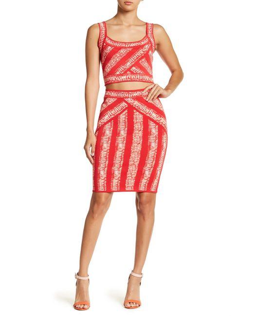 BCBGMAXAZRIA | Red Alexa Shibori Stretch Knit Pencil Skirt | Lyst