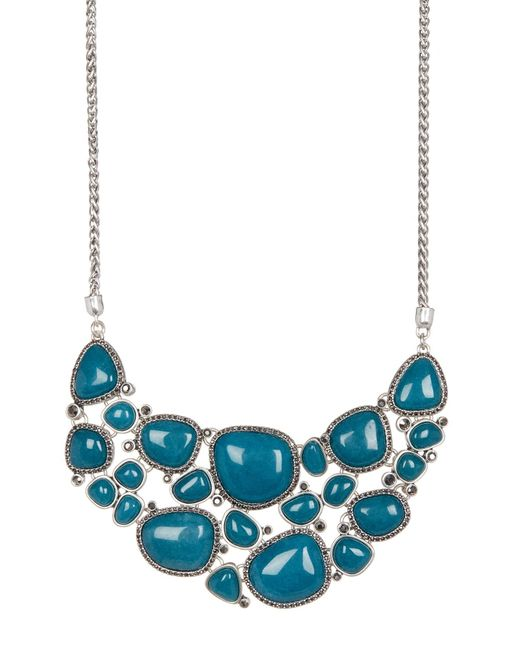 Lucky Brand | Blue Stone Halo Statement Necklace | Lyst