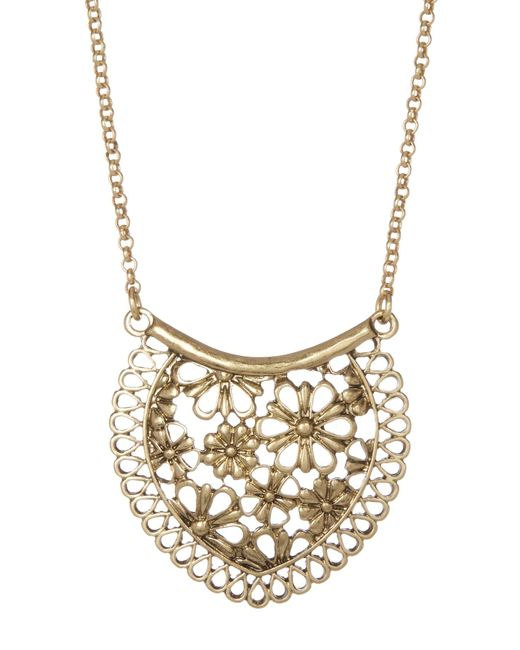 Lucky Brand | Metallic Lace Pendant Necklace | Lyst