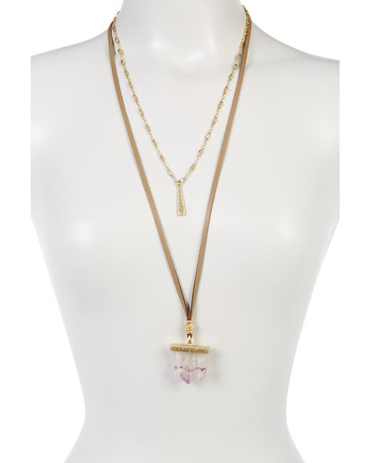 Lucky Brand | Metallic Druzy Crystal & Leather Double Necklace | Lyst