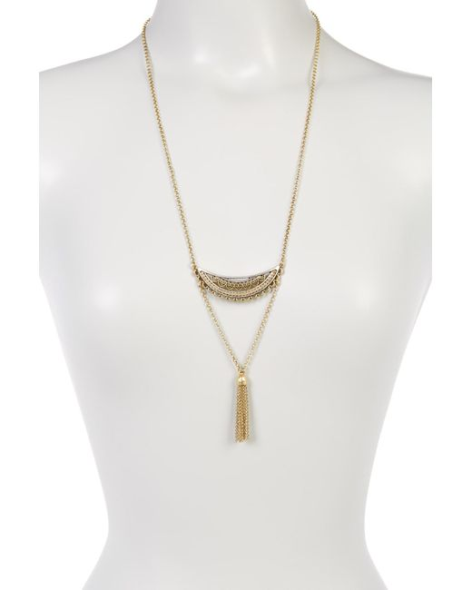 Lucky Brand | Metallic Openwork Tassel Pendant Necklace | Lyst