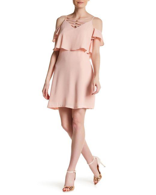 Jessica Simpson | Pink Cold Shoulder Crisscross Dress | Lyst