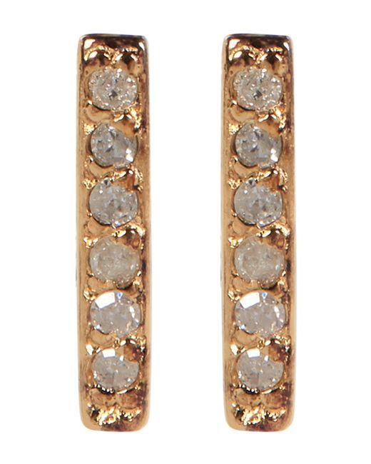 Kenneth Cole | Metallic Sterling Silver Diamond Detail Bar Stud Earrings - 0.06 Ctw | Lyst