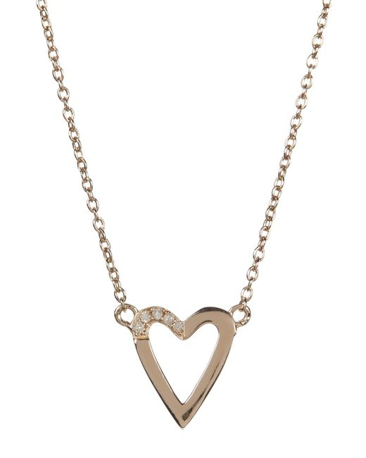 Kenneth Cole | Metallic 14k Gold Plated Diamond Detail Open Heart Pendant Necklace - 0.08 Ctw | Lyst