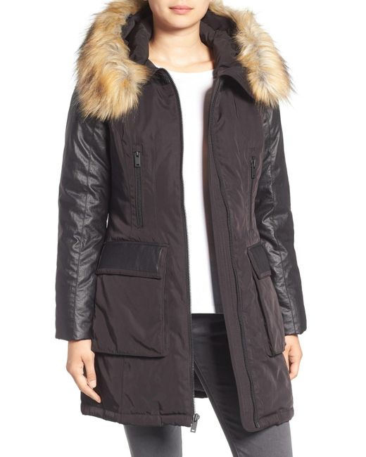 7 For All Mankind | Black Mixed Media Removable Faux Fur Hood Coat | Lyst