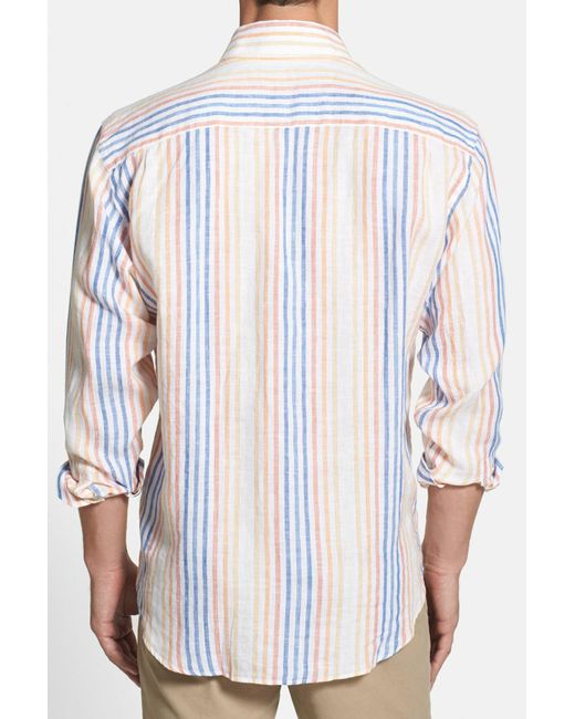 Robert talbott 39 anderson 39 trim fit stripe linen sport for Robert talbott shirts sale