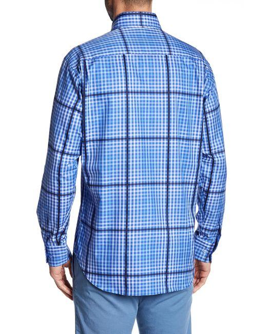 Robert talbott plaid print classic fit sport shirt in blue for Robert talbott shirts sale