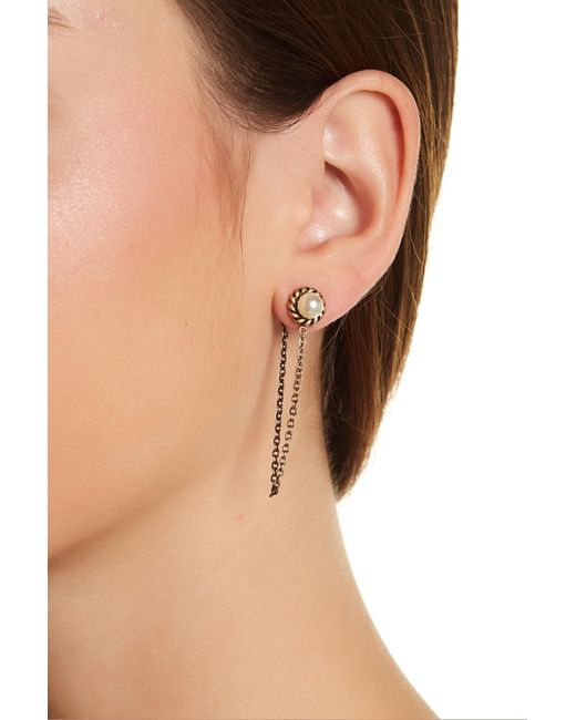 Marc Jacobs | Multicolor Chain Faux Pearl Cabochon Stud Earrings | Lyst