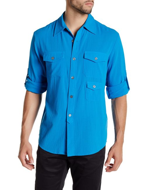Mr turk slim fit tab roll shirt in blue for men blue for Men s roll tab sleeve shirts