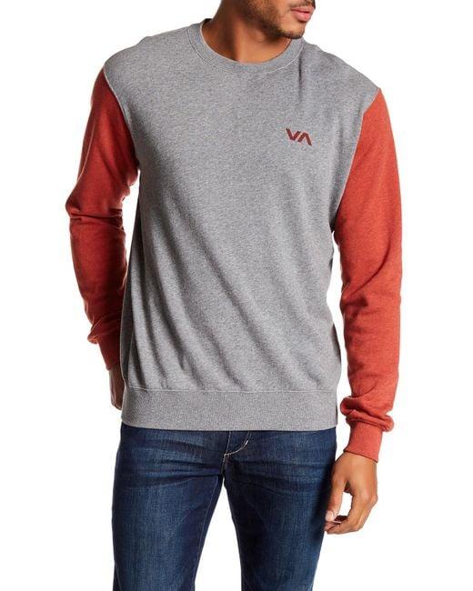 RVCA   Gray Balance Arc Colorblock Crew Neck Sweatshirt for Men   Lyst