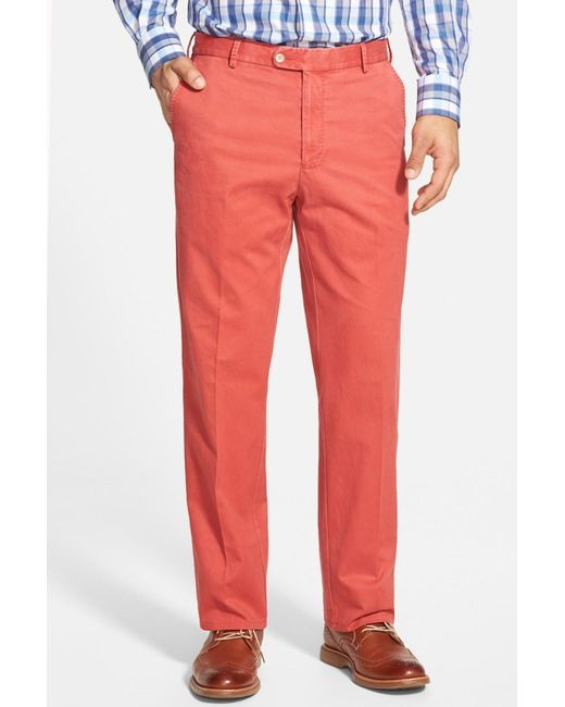 Peter Millar | Red 'raleigh' Washed Twill Pants for Men | Lyst