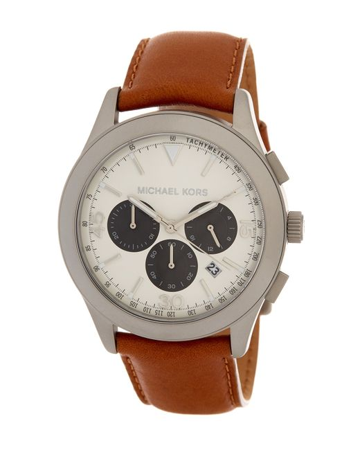 MICHAEL Michael Kors | Brown Men's Gareth Leather Strap Watch for Men | Lyst