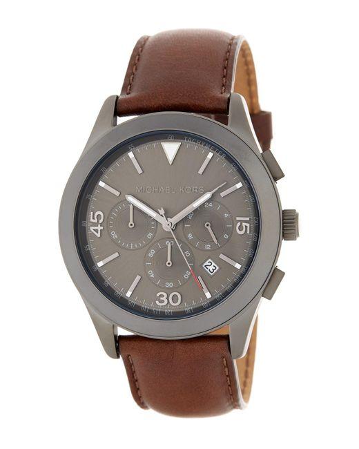 MICHAEL Michael Kors | Brown Men's Gareth Chronograph Leather Strap Watch for Men | Lyst