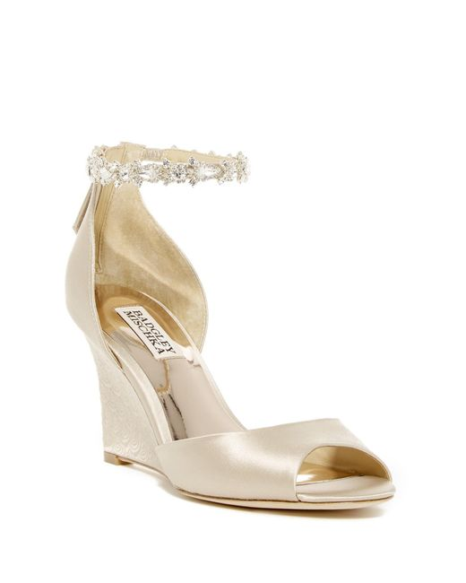 Badgley Mischka | Natural Thalia Crystal Embellished Wedge Heel Sandal | Lyst