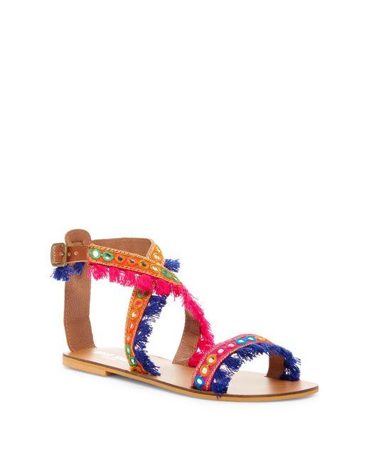 Mia Sara London | Multicolor Arena Embroidery Detail Sandal | Lyst