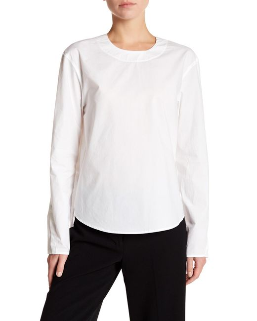Dkny long sleeve open back shirt in white lyst for Long sleeve open shirt