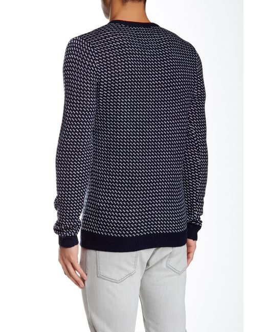 Native youth Pattern Knitted Crew Neck Jumper in Blue for Men (Navy) - Save 4...