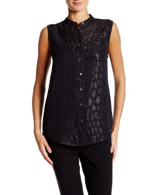 Equipment collarless sleeveless silk blouse in black lyst for Equipment black silk shirt