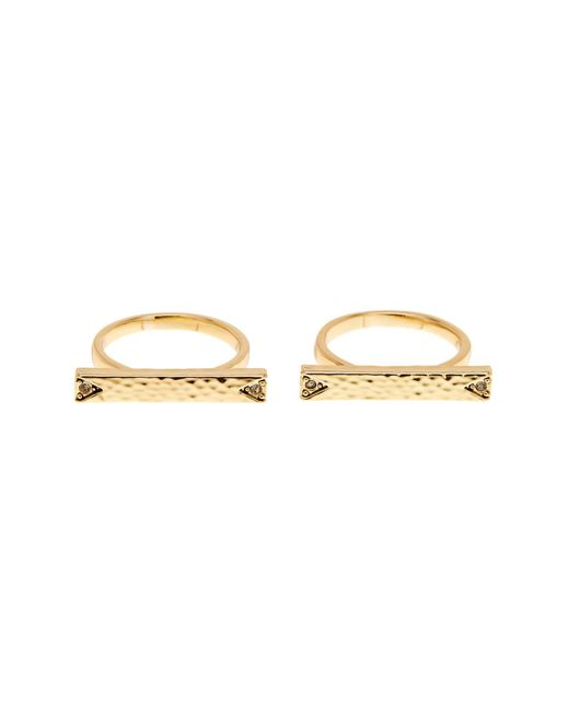 House of Harlow 1960 | Metallic Accented Bar Ring Set - Set Of 2 - Size 7 | Lyst