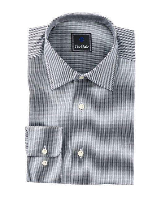 David Donahue | Black Long Sleeve Regular Fit Mini Houndstooth Dress Shirt for Men | Lyst