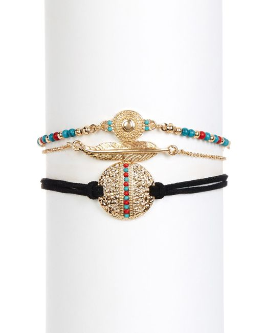 Steve Madden | Metallic Textured Disc, Bead Detail, & Feather 3-piece Bracelet Set | Lyst