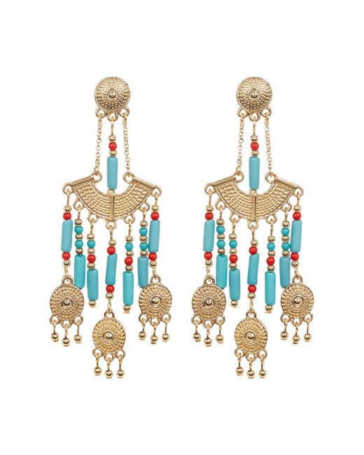 Steve Madden | Metallic Bead Detail Textured Chandelier Drop Post Earrings | Lyst
