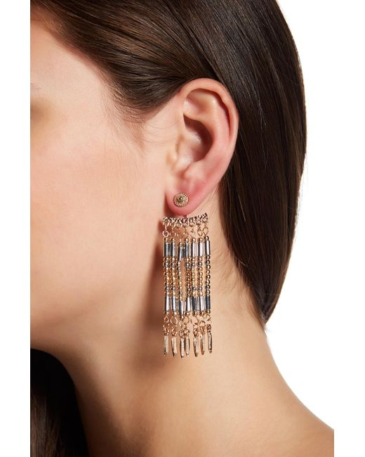 Steve Madden | Orange Two-tone Bead Detail Fringe Front & Back Earrings | Lyst