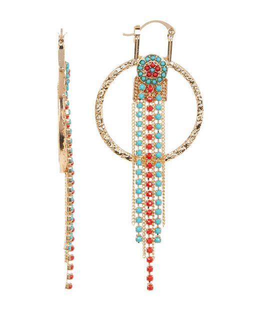 Steve Madden | Metallic Two-tone Bead Detail Fringe Drop Textured Circle Earrings | Lyst