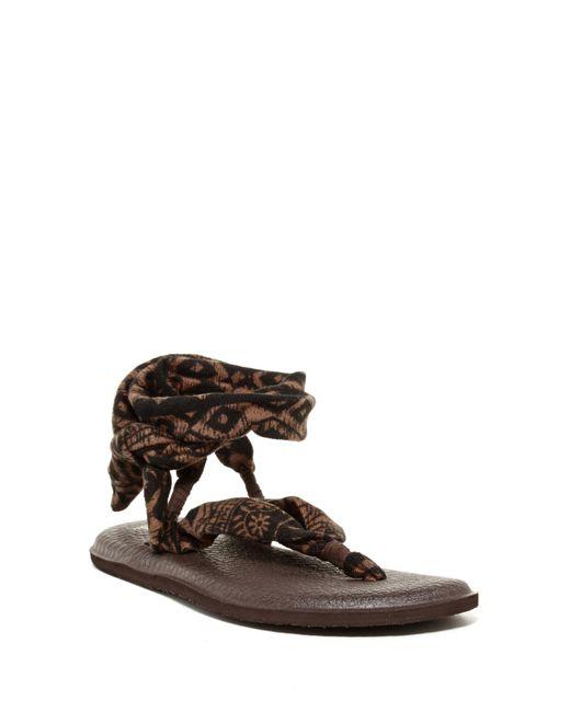 Sanuk | Brown Yoga Slinged Up Ankle Tie Sandal (women) | Lyst