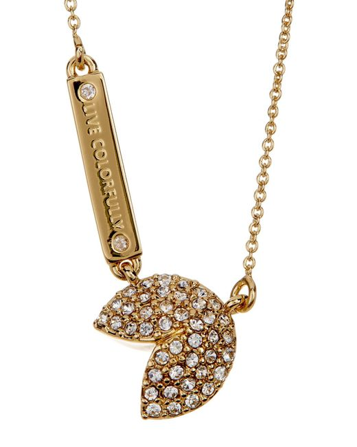 Kate Spade   Metallic Gold Plated Pave Pendant Necklace   Lyst