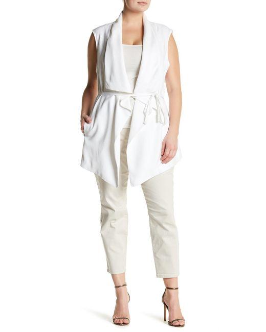 NYDJ | White Sleeveless Cascade Jacket (plus Size) | Lyst