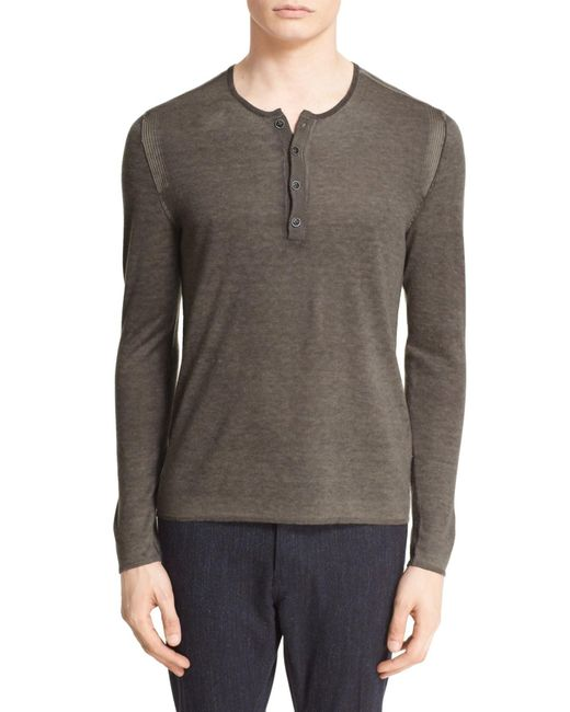 John Varvatos | Gray Silk & Cashmere Sweater for Men | Lyst