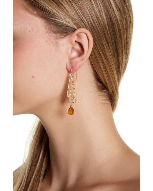 Panacea | White Wire-wrapped Bead Drop Earrings | Lyst