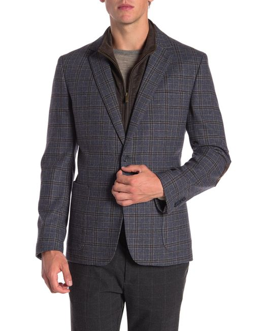 English Laundry - Blue Wool Blend Bib Blazer for Men - Lyst