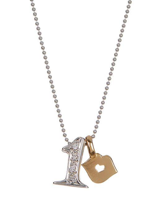 Alex Woo | Metallic 14k White Gold Little Number '1' Diamond Pendant Necklace - 0.02 Ctw | Lyst