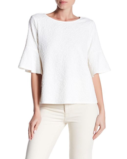 Cece by Cynthia Steffe | White Elbow Bell Sleeve Paisley Knit Jacquard Top | Lyst