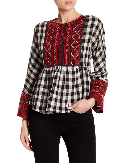 Haute Rogue - Multicolor Embroidered Gingham Top - Lyst