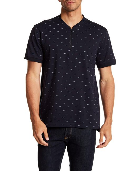 Kenneth Cole - Blue Short Sleeve Zip-up Shirt for Men - Lyst