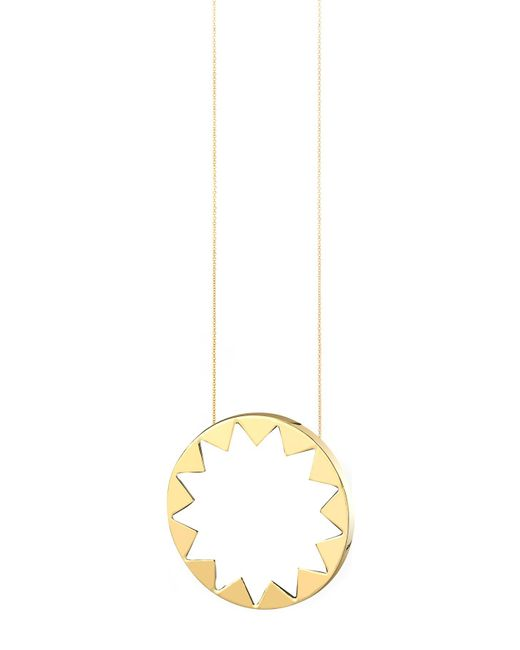 House of Harlow 1960 | Metallic 14k Yellow Gold Plated White Leather Inlay Sunburst Pendant Necklace | Lyst