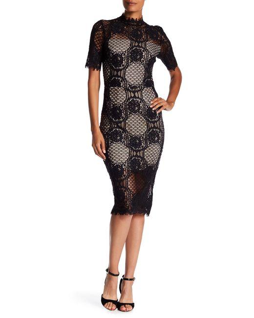 Alexia Admor   Black Mock Neck Lace Midi Dress   Lyst
