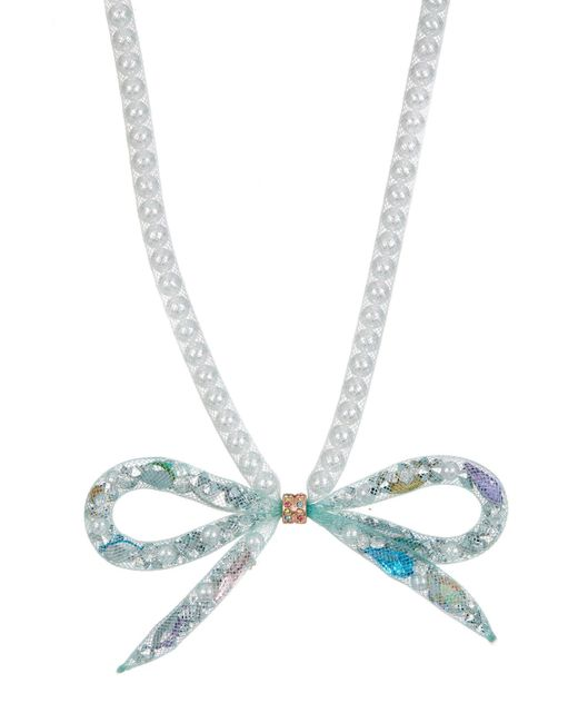 Betsey Johnson | Blue Tube Bow Beaded Necklace | Lyst