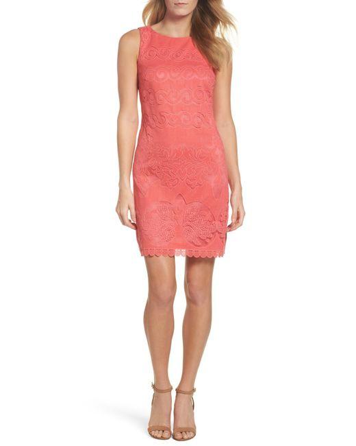 Eliza J - Pink Sleeveless Scallop Hem Sheath Dress - Lyst
