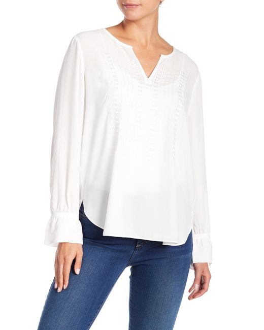 NYDJ - White Embroidered Blouse - Lyst