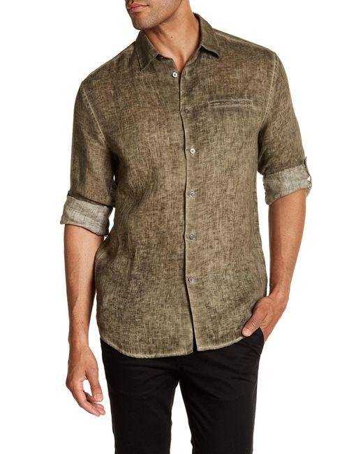 John Varvatos | Green Linen X-trim Fit Sport Shirt for Men | Lyst