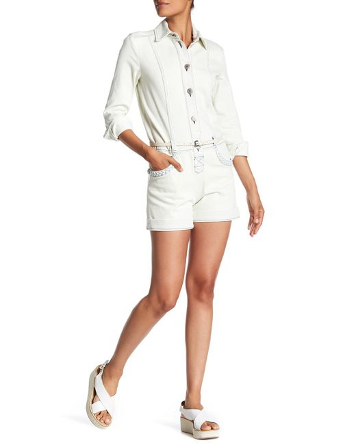 See By Chloé | White Denim Button Down Romper | Lyst