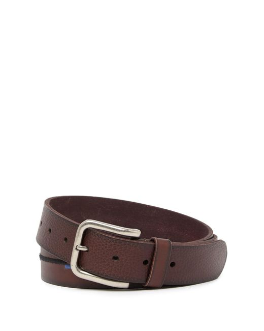 Tommy Bahama Brown Embroidered Scales Leather Belt for men