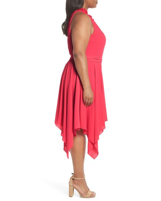 d86258cc4a09a Lyst - Eliza J Handkerchief Hem Fit   Flare Dress (plus Size) in Pink