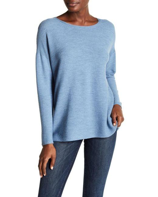 Eileen Fisher Boxy Draped Wool Sweater In Blue Lyst