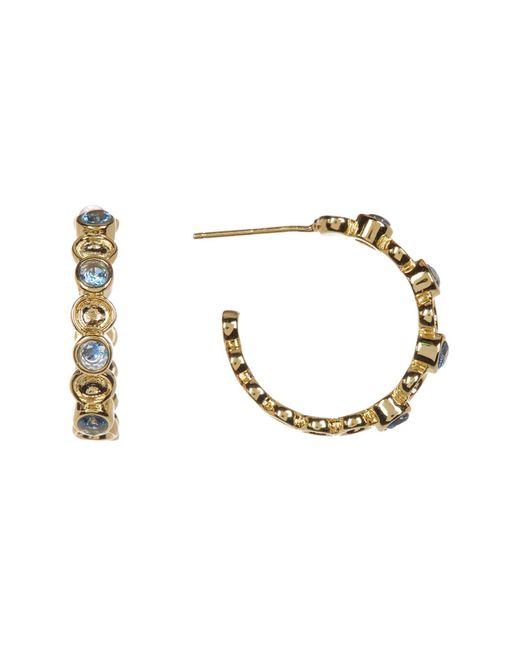 Melinda Maria   Metallic Penelope Mixed London Blue Topaz Mini C-hoop Earrings   Lyst