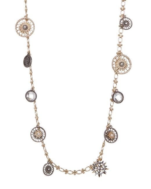 Jenny Packham | Metallic Hematite & Crystal Charm Necklace | Lyst